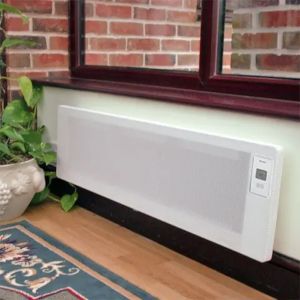 A wall-mounted panel heater