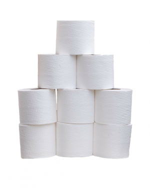 A stack of toilet rolls