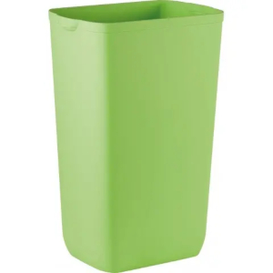 A bright green waste bin for washrooms