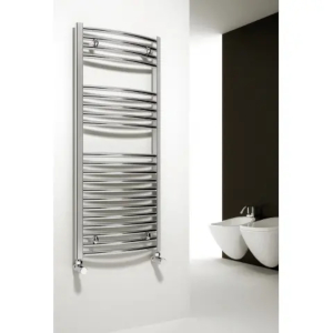 A chrome heated towel rails