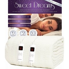 Sweet Dreams Fully Fitted Fleece King Size Electric Blanket with Dual Controls