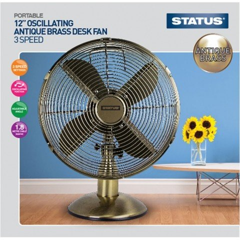 12 Quot Oscillating Antique Brass Desk Fan Hsd Online